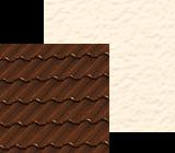 Brazowy dach w polaczeniu z bezowymi odcieniami elewacji